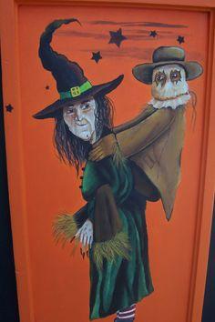Original Halloween Folk Art Painting Funny by Creativelyjuiced Halloween Wood Signs, Halloween Town, Halloween Stuff, Creepy Stuff, Creepy Art, Painted Slate, Funny Paintings, Painted Pumpkins, All Art
