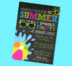 School's Out Pool Party Summer Chalkboard Invitation End of School Party Cute