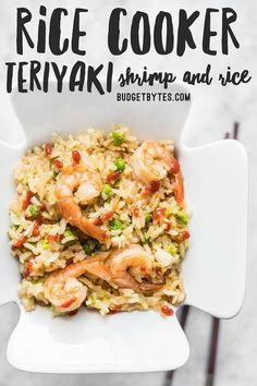 Rice Cooker Teriyaki Shrimp and Rice - Budget Bytes - - By adding a few extra ingredients to your rice cooker, you can cook an entire meal at once. This Teriyaki Shrimp and Rice is an easy and healthy alternative to take out. Aroma Rice Cooker, Rice Cooker Recipes, Rice Recipes, Dinner Recipes, Cooking Recipes, Healthy Recipes, Shrimp Recipes, Cooking Blogs, Thai Cooking