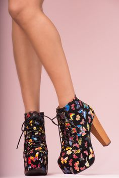 JEFFREY CAMPBELL - LITA BUTTERFLY: The hotest platform booties of Jeffrey Campbell. Lace up fronted. Black suede with colorful butterfly upper and covered platform. Black wooden heel.13cm heel and 5cm platform