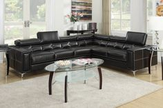 """2-Pcs Sectional Sofa F7249 $749  Impress your guests with this sophisticated 2-piece sectional sofa covered in rich bonded leather with intricate stitching and shapes. It also includes adjustable head rests and chrome leg supports. Available in black and cream.     Material:  Solid Piner Plywood Bonded Leather Color: Black  Dimensions:  Right-Facing Loveseat Wedge: 88"""" x 37"""" x 29"""" - 36""""H Left-Facing 3-Seat Sofa: 74"""" x 37"""" x 29"""" - 36""""H"""