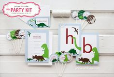 The+PARTY+KIT++DINOSAUR+Complete+Birthday+Party+by+paperandcake,+$43.95