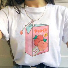 Peach Harajuku Small Fresh T Shirts – Benovafashion Peach Aesthetic, Aesthetic Fashion, Aesthetic Style, Aesthetic Shirts, Aesthetic Clothes, Retro Outfits, Cool Outfits, Peach Clothes, Peach Shirt
