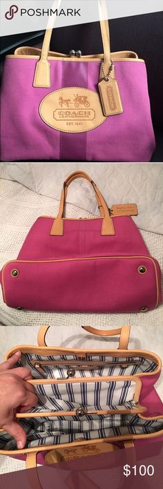 """Coach 10th Anniversary Hampton Archive bag Has several compartments and in excellent condition. 15""""W X 10""""H X 6""""D. 9"""" shoulder strap drop. Very beautiful . The true color are the last 3 pics. The first pic was taken outside. Coach Bags Shoulder Bags"""