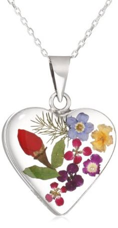 """Sterling Silver Pressed Flower Heart Pendant Necklace, 16"""": Jewelry: Amazon.com"""