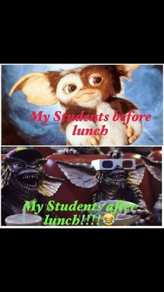 A student's face when... he hasn't, and has, had lunch.