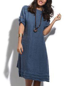 Blue Ruffle-Hem Linen Hi-Lo Dress