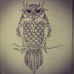 Owl - tattoo sketch by - Ranz