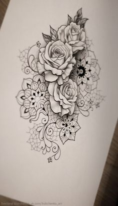 feminine rose mandala tattoo idea design with lace and mendi patterns thigh or side tattoo by. Black Bedroom Furniture Sets. Home Design Ideas