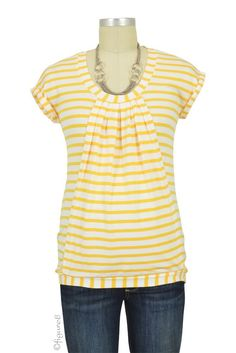 Manon Nursing Top in Yellow & White Stripes.  Please use coupon code NewProducts to receive 15% off these items. To receive the discount, please place your order by midnight Monday, April 11, 2016