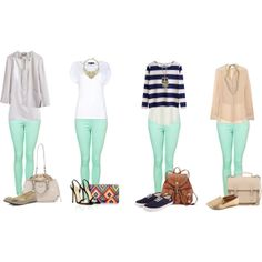 Mint skinny jeans outfit