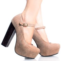 Camel Mary Jane Mulheres Chunky salto alto Bombas Sapatos plataforma escondida