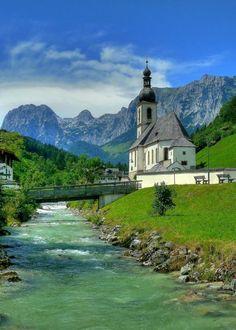 """The church of Saint Sebastian in Ramsau, Bavaria, Germany"" - photo by Claude@Munich"