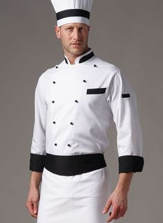 black and white Chef uniform Chef Dress, Chef Shirts, Blazer Outfits Men, Bandana, Hotel Uniform, Restaurant Uniforms, Staff Uniforms, Apron Designs, Uniform Design