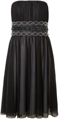 Js Collections Mesh Beaded Strapless Evening Dress @Lyst
