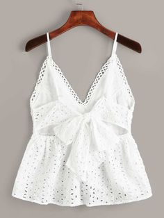 To find out about the Eyelet Embroidery Knot Back Cami Top at SHEIN, part of our latest Tank Tops & Camis ready to shop online today! Girls Fashion Clothes, Teen Fashion Outfits, Trendy Outfits, Girl Fashion, Summer Outfits, Cute Outfits, Womens Fashion, Cami Tops, Indian Blouse Designs