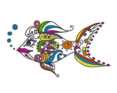 Fish Art  8x10 print  Pen Ink Glitter Doodles Lines by modpretties.