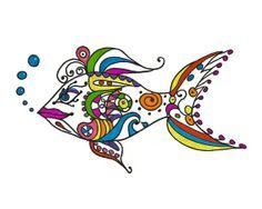 Fish Art  8x10 print  Pen Ink Glitter Doodles Lines by modpretties.