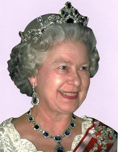 King George VI Victorian Sapphire Tiara, on Queen Elizabeth II.  Also note the earrings and necklace!