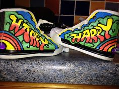 Hand painted boots for harry