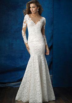 Floral Lace Sheath Wedding Dress | Style 9377 by Allure Bridals |  http://trib.al/vn0EEgo