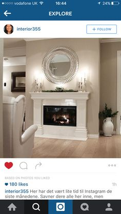 Wonderful Images White Fireplace design Style Remember when I was hemming and hawing about whether to paint our fireplace white? Well, one night I White Mantle Fireplace, Basement Fireplace, Home Fireplace, Fireplace Remodel, Modern Fireplace, Living Room With Fireplace, Fireplace Surrounds, Fireplace Design, Home Living Room