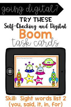 This deck contains 20 cards relating to the topic of Sight Words. This is the second list in a series of other lists that can be found in my Boom or TPT store. This deck focuses on five sight words (for, said, you, in, it). Within this deck, students will match sight words with sound, find missing letters in sight words, spell the word, and type the word). Enjoy this Product. Perfect for 1:1 technology and distance learning!
