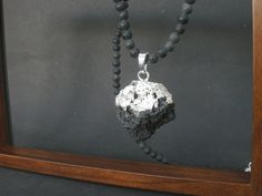 Natural Raw Volcanic Stone Silver Dipped Pendant, Natural Basalt Lava Round, Men's Necklace, Raw Lava Unisex Necklace