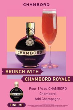 Two-ingredient champagne cocktail perfect for the Spring brunch table HOW TO MAKE A CHAMBORD ROYALE ¼ oz Chambord Liqueur Champagne Raspberry Pour Chambord into a flute glass. Champagne Drinks, Wine Drinks, Cocktail Drinks, Cocktail Recipes, Alcoholic Drinks, Beverages, Cocktails, Brunch Table, Brunch Party
