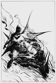 Batman with Bat-Cycle by Jae Lee