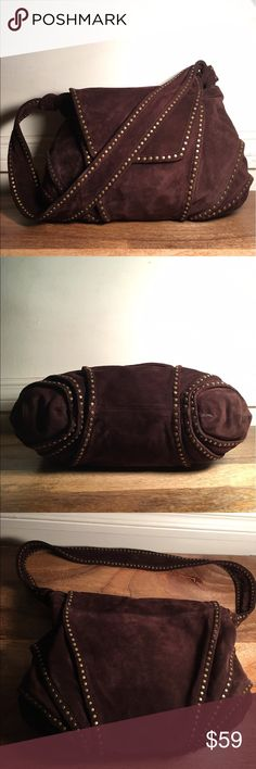 Kooba Suede Bag Brown Suede KOOBA bag with studs, very gently used, with scuffs and marks from normal wear but no stains or holes, clean in and out, nomissing studs 😍 Kooba Bags