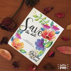 Printable and customizable Floral Save the date Template de HelloPonyWorld en Etsy