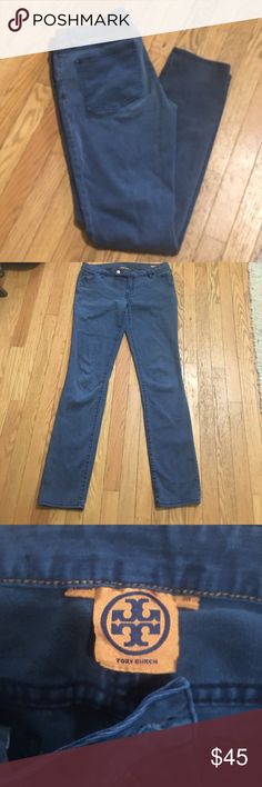 "Tory Burch super skinny pants Soft, indigo blue with gold Tory emblem button 5 pocket. Super skinny jeans. Size 30 inseam 32"". Missing logo on back pocket, otherwise great condition no rips, holes, stains fraying or tears. Tory Burch Jeans Skinny"