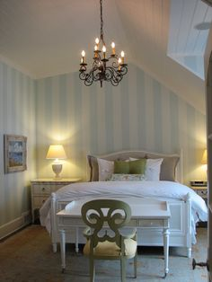 Cottage Company - Harbor Springs  - luv the striped walls except in black and white