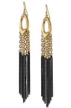 Gold & Black Chain Tassel Earrings | Lilith Fringe Earrings