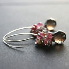 Items similar to Smoky Quartz Earrings . Smoky Quartz Tourmaline Cluster Sterling Silver Earrings on Etsy Crystal Jewelry, Beaded Jewelry, Wire Jewelry, Tourmaline Earrings, Pink Tourmaline, Best Friend Jewelry, Gold Bar Necklace, Engraved Jewelry, Hippie Jewelry