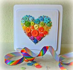 Heart button card, made with love Fun Crafts, Paper Crafts, Rainbow Unicorn Party, Button Cards, Heart Button, Button Button, Rainbow Heart, All Paper, All Craft