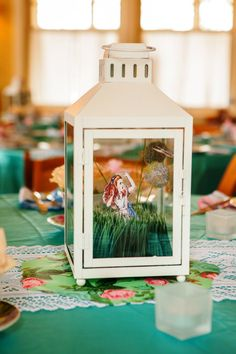 Had to share! It came out so sweet. Alice in Wonderland Centerpiece Lantern by BittyFootprint on Etsy #AliceinWonderland