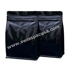 8 OZ SHINY BLACK BLOCK / FLAT BOTTOM BAG WITH ZIPPER AND VALVE.