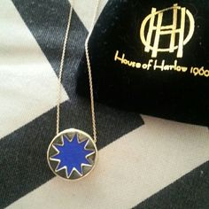 HoH 1960 necklace House of Harlow 1960 by nicole richie branded Gold necklace with blue leather inset star. Authentic with logo tag and comes with black logo bag. Never worn. House of Harlow 1960 Jewelry Necklaces