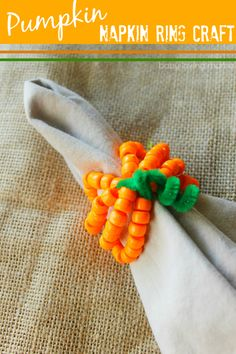 Learn how easy it is to make these beaded pumpkin napkin rings. This is an affordable and kid-friendly way to dress up your fall table for Thanksgiving. Thanksgiving Placemats, Thanksgiving Crafts For Kids, Thanksgiving Decorations, Table Decorations, Beaded Napkin Rings, Spring Crafts, Bead Crafts, Diy For Kids, Diy Gifts