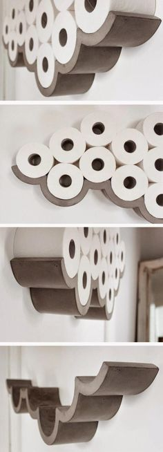 bathroom decoration on a budget Awesome Products: Cloud concrete toilet roll holder Concrete cloud shaped toilet paper holder. Like a cloud! Diy Bathroom Decor, Bathroom Storage, Diy Home Decor, Bathroom Art, Bathroom Interior, Bathroom Designs, Bathroom Cabinets, Decorating Bathrooms, Shower Storage