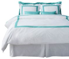 This is a great trim color for your room. I would add a bed skirt with more pizzazz!  Going with a turquoise theme, please remove any posts that you do not like at all. If you do like something in the photo, please add a comment.  LaCozi Tiffany Blue Duvet Cover Set, Queen modern-duvet-covers