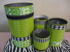 Set of 4 TIN CANS Decorated in Green Damask and Black Argyle Print