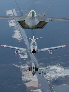 Heritage Flight. F-22 on top, F-86 in the middle and an F-4 on the bottom.