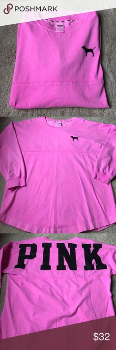 Worn once! Victoria Secret T shirt Worn once! A oversized hot pink T-shirt! Has PINK on the back in black and a dog on the front! PINK Victoria's Secret Tops Tees - Long Sleeve