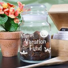 TIme to make a Money Jar  http://www.giftsforyounow.com/Personalized-Vacation-Fund-Glass-Jar-230114.aspx?source=shopping=230114_medium=feed_source=shopping_term=230114