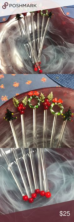 Vintage set of 6 swizzle sticks Very rare. Adorable set of six mint condition vintage swizzle sticks from the forties or fifties. Two Christmas trees, two wreaths, two cherries. All glass, and or very functional as stirrers. Or use decoratively setting next to my gold Jim Beam decanter. Other