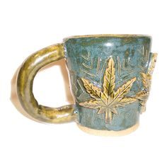 Cannabis Cup  Handbuilt ceramic coffee mug by Aaron Nosheny / Aberrant Ceramics, $34.00