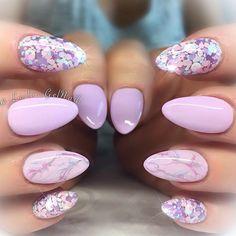 "Pastel Purple with ""Talent Show"" #nails#kelowna#gelnails#sculptedgel#lesliesgelnails#naildesign#pretty#cute#nailart#kelownagelnails#sculptedgelnails#nailsoftheday#kelownanailtech#purple#purplenails#glitternails#glitterheavenaustralia#almondnails#pastelpurplenails#pastelnails#marblenails"